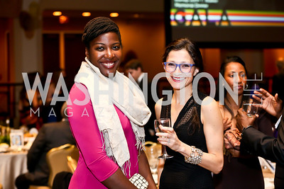 Caroline Eboumbou, Hannah Burris. Photo by Tony Powell. Africare Bishop John T. Walker Memorial Dinner. Hilton Hotel. April 5, 2014