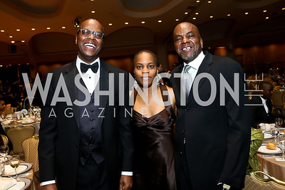 Africare President Darius Mans, Sandi Jordan, James Billy. Photo by Tony Powell. Africare Bishop John T. Walker Memorial Dinner. Hilton Hotel. April 5, 2014