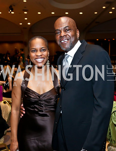 Sandi Jordan, James Billy. Photo by Tony Powell. Africare Bishop John T. Walker Memorial Dinner. Hilton Hotel. April 5, 2014