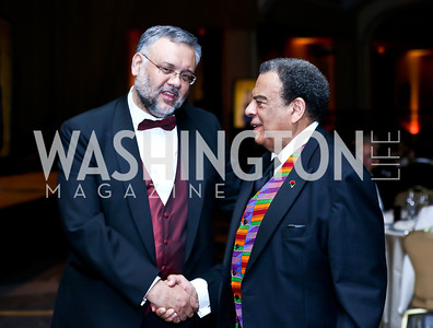 South African Amb. Ebrahim Rasool, Former UN Amb. Andrew Young. Photo by Tony Powell. Africare Bishop John T. Walker Memorial Dinner. Hilton Hotel. April 5, 2014