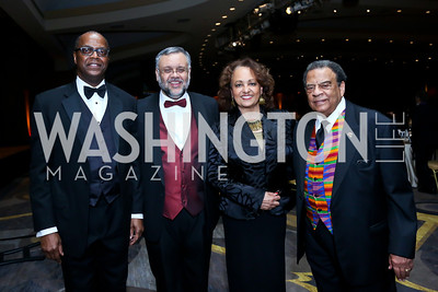 Africare President Darius Mans, South African Amb. Ebrahim Rasool, Daphne Maxwell Reid, Former UN Amb. Andrew Young. Photo by Tony Powell. Africare Bishop John T. Walker Memorial Dinner. Hilton Hotel. April 5, 2014