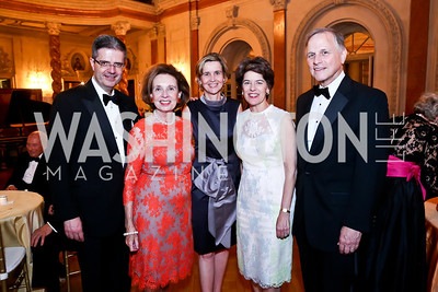 French Amb. Francoise Dellatre, Ellen Boer, Sophie Dellatre, Susan and John Klein. Photo by Tony Powell. 2014 Alliance Francaise AFEI Gala. Anderson House. April 10, 2014