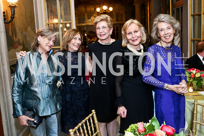 Faith Lewis, Susan Rappaport, Tina Greenberg, Evelyn DiBona, Bobbie Brewster. Photo by Tony Powell. 2014 Alliance Francaise AFEI Gala. Anderson House. April 10, 2014