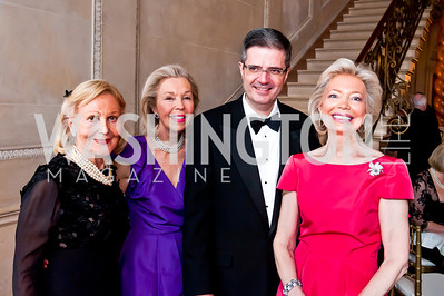 Evelyn DiBona, Nina Pillsbury, French Amb. Francois Delattre, Joan Carl. Photo by Tony Powell. 2014 Alliance Francaise AFEI Gala. Anderson House. April 10, 2014