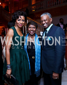 Sela Collins, Gwen Ifill, Art Collins. Photo by Tony Powell. 2014 BET Honors Dinner. Museum for Women in the Arts. February 7, 2014