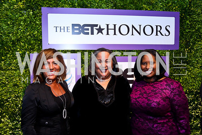 Marcella Jones, Tanya Lombard, Jotaka Eaddy. Photo by Tony Powell. 2014 BET Honors Dinner. Museum for Women in the Arts. February 7, 2014