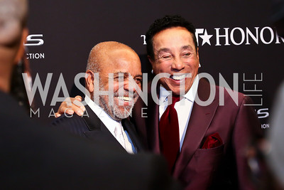 Visionary Award Honoree Berry Gordy, Smokey Robinson. Photo by Tony Powell. 2014 BET Honors Red Carpet. Warner Theater. February 8, 2014