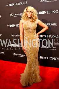 Performer Tamar Braxton. Photo by Tony Powell. 2014 BET Honors Red Carpet. Warner Theater. February 8, 2014