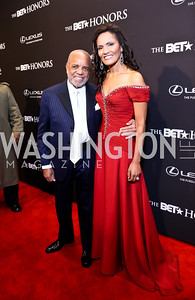 Visionary Award Honoree Berry Gordy, Eskedar Gobeze. Photo by Tony Powell. 2014 BET Honors Red Carpet. Warner Theater. February 8, 2014