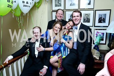 Stephen Nash, Annie Mears, Wilson Nash, Charlotte Harvey, Peter Neville. Photo by Tony Powell. 2014 Bachelors and Spinsters Ball. City Tavern Club. April 11. 2014