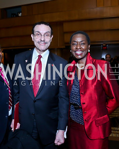 Mayor Vincent Gray, Rynthia Rost. Photo by Tony Powell. 2014 Black Tie and Sneakers Gala. Grand Hyatt. March 19, 2014