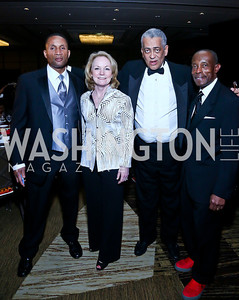 Arthur Ellis, Gala Co-Chair Kim Horn, Rocky Twyman, GWUL President and CEO. George Lambert. Photo by Tony Powell. 2014 Black Tie and Sneakers Gala. Grand Hyatt. March 19, 2014