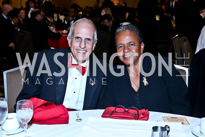 Michael Critelli, Honoree Catana Starks. Photo by Tony Powell. 2014 Black Tie and Sneakers Gala. Grand Hyatt. March 19, 2014
