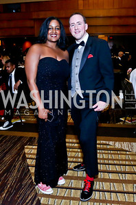 Greater Washington Urban League SVP Chanelle Hardy, Board Chair Michael Akin. Photo by Tony Powell. 2014 Black Tie and Sneakers Gala. Grand Hyatt. March 19, 2014