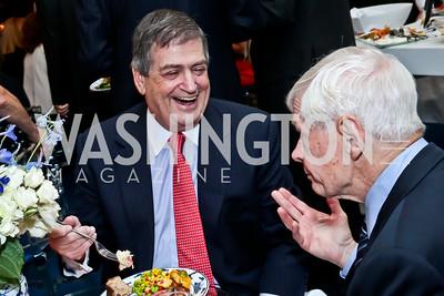 Ken Duberstein, Fred Malek. Photo by Tony Powell. Cafritz Welcome Back from Summer. September 13, 2014