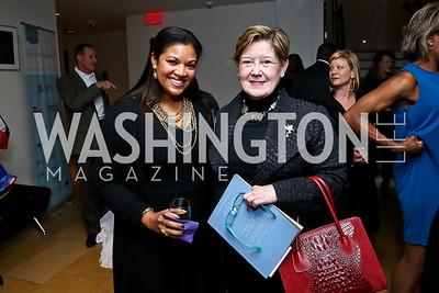 Lydia Logan, Kathleen Zeifang. Photo by Tony Powell. Catalogue for Philanthropy Award Dinner. Harman Center. November 1, 2014
