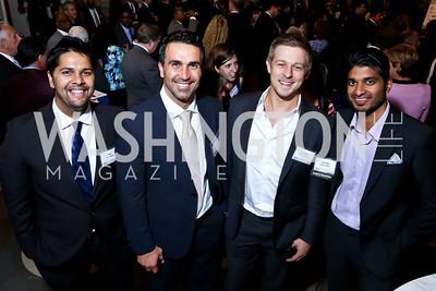 Shiv Newaldass, Adam Branch, Andrew Ferhretdinov, Vinoda Basnayake. Photo by Tony Powell. 2014 Champions of Democracy Awards Gala. LOC. October 15, 2014