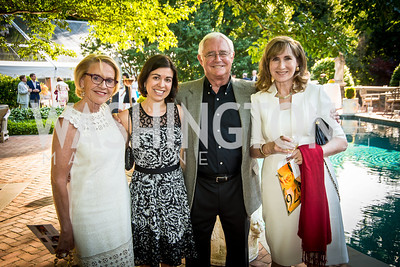 Marcia Carlucci, Christine Dunn, Jacques Gansler, Angela Moore. Photo by Tony Powell. 2014 CharityWorks 100 Point Wine Dinner. Ramsey Residence. May 31, 2014