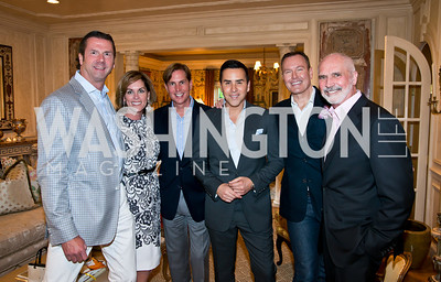 Timothy Watkins, Charlotte Kettler, Todd Gamble, Will Thomas, Barry Dixon, Bob Kettler. Photo by Tony Powell. 2014 CharityWorks 100 Point Wine Dinner. Ramsey Residence. May 31, 2014