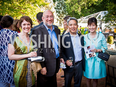 Sarah Ruppert, Pierre Chao, Ian and Christine Fujiyama. Photo by Tony Powell. 2014 CharityWorks 100 Point Wine Dinner. Ramsey Residence. May 31, 2014