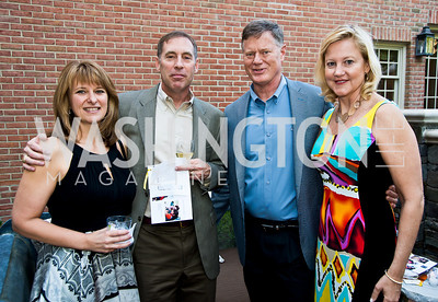 Kim and Andy Schubin, Geoff Pohanka, Anne Kline. Photo by Tony Powell. 2014 CharityWorks 100 Point Wine Dinner. Ramsey Residence. May 31, 2014