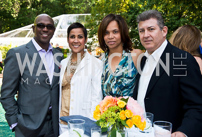 Don Christian, Kim Brown, Dawna Christian, Brent Churlino. Photo by Tony Powell. 2014 CharityWorks 100 Point Wine Dinner. Ramsey Residence. May 31, 2014