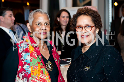 Duke Ellington School Founder Peggy Cooper Cafritz, Sherry Bellany. Photo by Tony Powell. 2014 Duke Ellington School Benefit Concert. Strathmore Hall. March 12, 2014