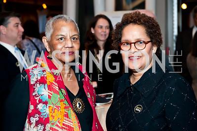 Duke Ellington School Founder Peggy Cooper Cafritz, Sherry Bellany. Photo by Tony Powell. 2014 Duke Ellington School Benefit Concert. Strathmore Hall. March 12, 2014