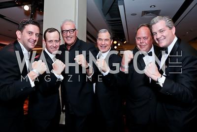Jim Bolduc, Geoff Tracy, Boxer Gerry Cooney, Jim Abdo, Bill Fletcher, Nels Olson. Photo by Tony Powell. 2014 Fight Night. Hilton Hotel. November 13, 2014
