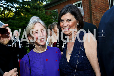 Priscilla Roosevelt, Amb. Amy Bondurant. Photo by Tony Powell. 2014 Hillwood Gala. June 3, 2014