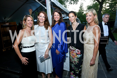 Dory Clark, Carolyn Nordberg, Kelly Lugar, Jennifer Wood, Meredith Sumner. Photo by Tony Powell. 2014 Hillwood Gala. June 3, 2014