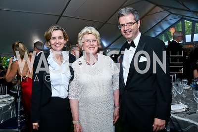 Sophie Delattre, Ellen Charles, French Amb. Francois Delattre. Photo by Tony Powell. 2014 Hillwood Gala. June 3, 2014