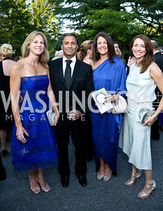 Emily and Raj Madan, Kelly Lugar, Carolyn Nordberg. Photo by Tony Powell. 2014 Hillwood Gala. June 3, 2014