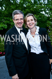 French Amb. Francois Delattre and Sophie Delattre. Photo by Tony Powell. 2014 Hillwood Gala. June 3, 2014