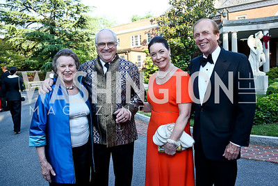 Caroline Trask, Jan Roosenburg, Nina Rumbough, John Trask. Photo by Tony Powell. 2014 Hillwood Gala. June 3, 2014