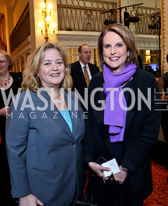 Hilary Rosen, Gloria Borger. Photo by Tony Powell. 2014 International Women's Day Lunch. Mayflower Hotel. March 5, 2014