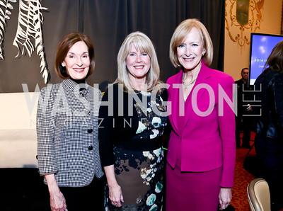 Donna McLarty, Tipper Gore, Judy Woodruff. Photo by Tony Powell. 2014 International Women's Day Lunch. Mayflower Hotel. March 5, 2014