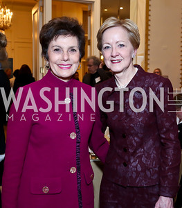 Maureen Orth, Ann Stock. Photo by Tony Powell. 2014 International Women's Day Lunch. Mayflower Hotel. March 5, 2014