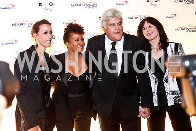 Alex and Wanda Sykes, Jay and Mavis Leno. Photo by Tony Powell. 2014 Mark Twain Prize. Kennedy Center. October 19, 2014