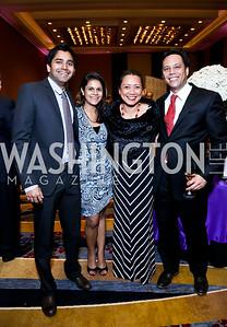 Ravin Mangal, Dipika Mangal, Christina Carrasco, Christopher Arnold. Photo by Tony Powell. 2014 Medstar NRH Gala. Marriott Marquis. October 30, 2014