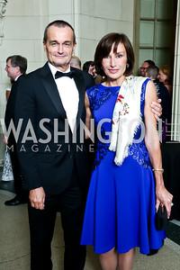 French Amb. Gerard Araud, Monaco Amb. Maguy Macario Doyle. Photo by Tony Powell. 2014 Meridian Ball. October 17, 2014