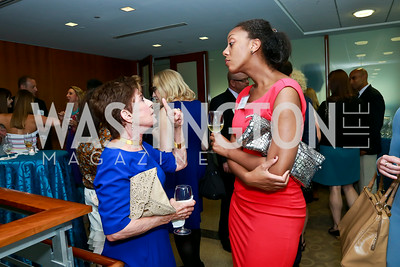 Nancy Conrad, Maisha Leek. Photo by Tony Powell. Milken Scholars Recognition Dinner. Elliott School, GWU. July 12, 2014