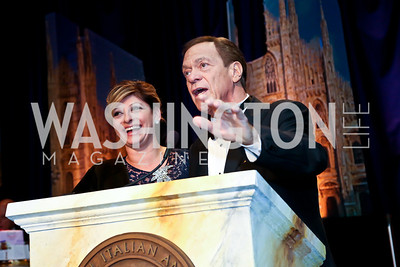 Maria Bartiromo, Joe Piscopo. Photo by Tony Powell. 2014 NIAF Gala. Washington Hilton, October 25, 2014