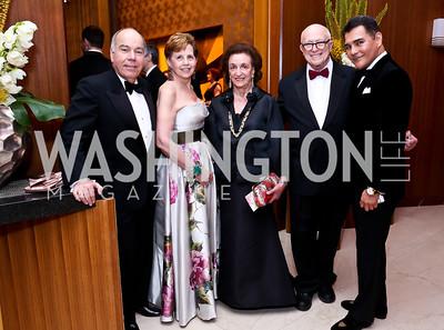 Brazilian Amb. Mauro Vieira, Adrienne Arsht, Lucky Roosevelt, Joe Duffey, Xavier Equihua. Photo by Tony Powell. 2014 Opera Ball. Japanese Ambassador's Residence. June 7, 2014
