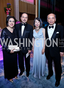 Sultana Hakimi, Amb. of Afghanistan Eklil Hakimi, Nobuko Sasae and Japanese Amb. Kenichiro Sasae. Photo by Tony Powell. 2014 Opera Ball. Japanese Ambassador's Residence. June 7, 2014