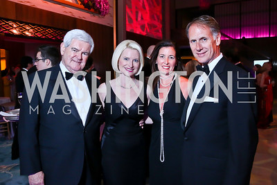 Newt and Callista Gingrich, Diane Ray Brown and Leonard Brown. Photo by Tony Powell. 2014 Opera Ball. Japanese Ambassador's Residence. June 7, 2014