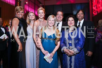 Jovita Gross, Kathleen McKenna, Anne Kline, Lori Jenkins, George Swygert, Shaista and Ray Mahmood. Photo by Tony Powell. 2014 Opera Ball. Japanese Ambassador's Residence. June 7, 2014
