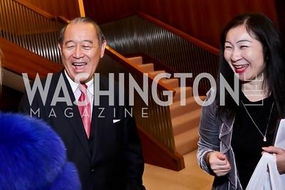 Former Japan Amb. Ichiro Fujisaki, Kiyomi Buker. Photo by Tony Powell. Opera Camerata of Washington Gala. Japan Amb's Residence. December 5, 2014