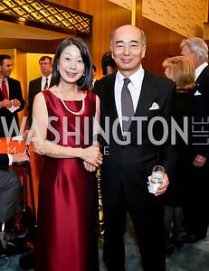 Nobuko Sasae and Japan Amb. Kenichiro Sasae. Photo by Tony Powell. Opera Camerata of Washington Gala. Japan Amb's Residence. December 5, 2014