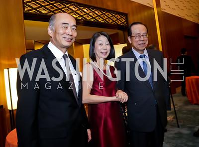 Japan Amb. Kenichiro Sasae and Nobuko Sasae, Former Prime Minister of Japan Yasuo Fukuda. Photo by Tony Powell. Opera Camerata of Washington Gala. Japan Amb's Residence. December 5, 2014